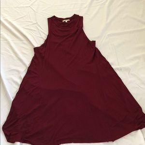Red wine midi swing dress